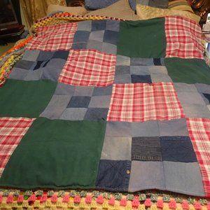 "Denim and flannel quilt 58 x 60"" Patchwork"